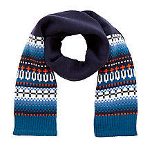 Buy John Lewis Children's Fair Isle Scarf, Navy Online at johnlewis.com