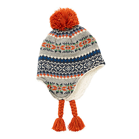 Buy John Lewis Children's Fair Isle Bobble Trapper Hat, Multi ...