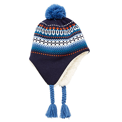 Buy John Lewis Children's Fair Isle Trapper Hat, Navy | John Lewis