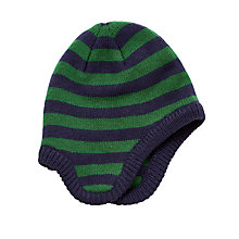 Buy John Lewis Children's Stripe Trapper Hat, Navy/Green Online at johnlewis.com