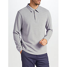 Buy John Lewis Long Sleeve Peached Cotton Polo Shirt, Grey Online at johnlewis.com