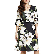 Buy Celuu Blake Striking Floral Print Dress, Grey Online at johnlewis.com