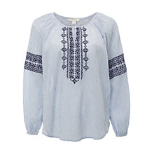 Buy White Stuff Pixie Smock Top, Opal Blue Online at johnlewis.com