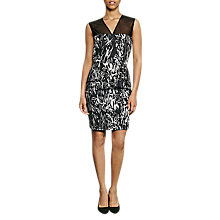Buy French Connection Copley V-Neck Cotton Dress, Black/Summer White Online at johnlewis.com