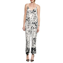 Buy French Connection Copley Crepe Floral Print Jumpsuit, Summer White/Black Online at johnlewis.com
