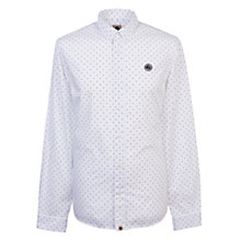 Buy Pretty Green Horlock Long Sleeve Polka Dot Shirt, White Online at johnlewis.com