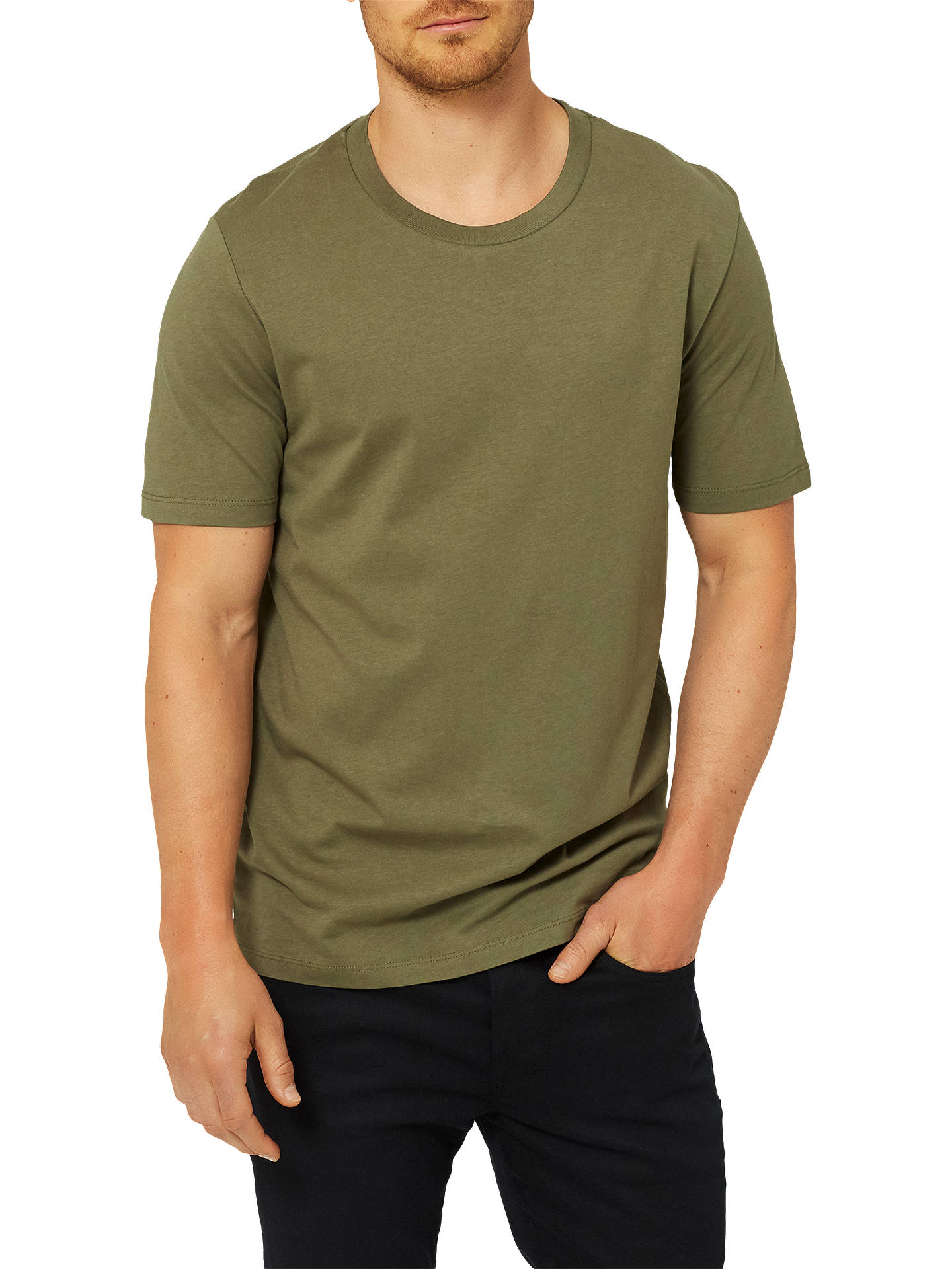 db2741f96bd8 Buy Selected Homme Perfect O-Neck Pima Cotton T-Shirt, Dusty Olive, ...