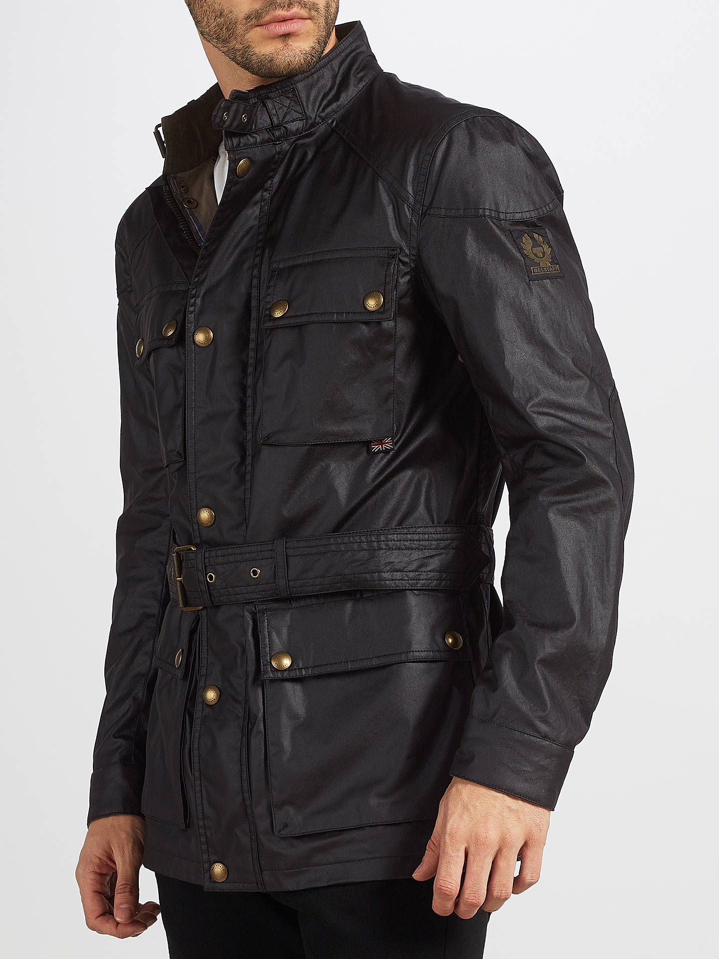 eb42f79e03 Buy Belstaff Roadmaster 4 Pocket Wax Jacket, Black, 48L Online at  johnlewis.com ...