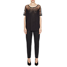 Buy French Connection Sheer Space Jersey Round Neck Top Online at johnlewis.com