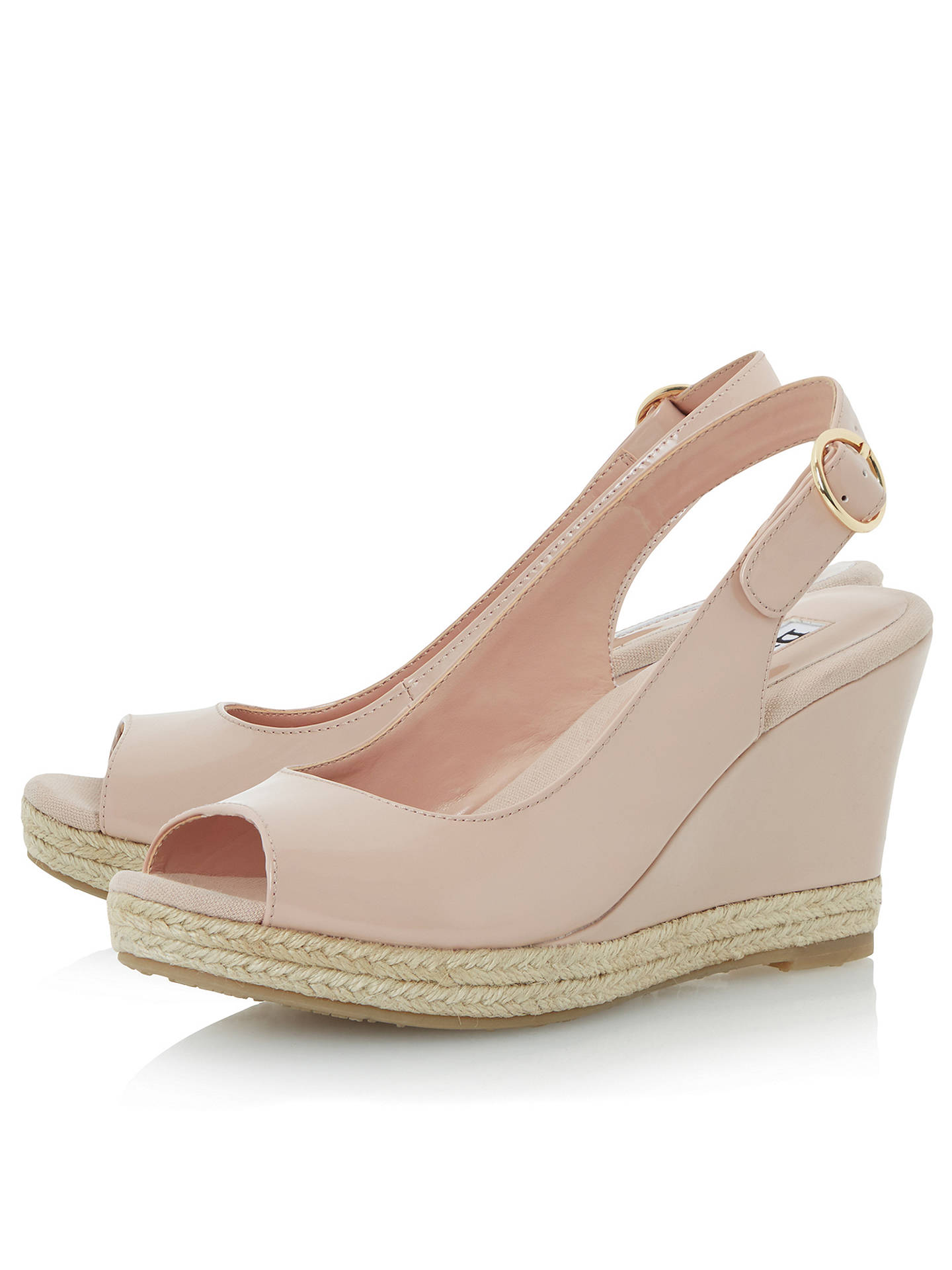BuyDune Klick Wedge Heel Sandals, Nude Patent, 3 Online at johnlewis.com