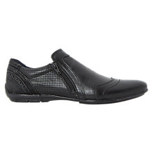 Buy Dune Braver Side Zip Detail Leather Shoes, Black Online at johnlewis.com