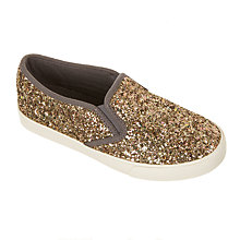 Buy John Lewis Children's Phoebe Glitter Slip On Shoes, Gold Glitter Online at johnlewis.com