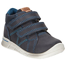 Buy ECCO Children's Leather Rip-Tape Logo First Shoes, Marine Online at johnlewis.com