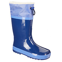 Buy John Lewis Children's Fleece Topper Wellington Boots, Navy Online at johnlewis.com