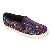 Buy John Lewis Children's Pheobe Glitter Slip On Shoes, Purple Online at johnlewis.com