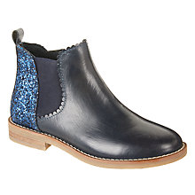 Buy John Lewis Children's Glitter Libby Leather Chelsea Boots, Navy Online at johnlewis.com