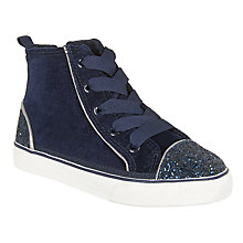 Buy John Lewis Children's Lulu Velvet High Top Trainers, Navy Online at johnlewis.com