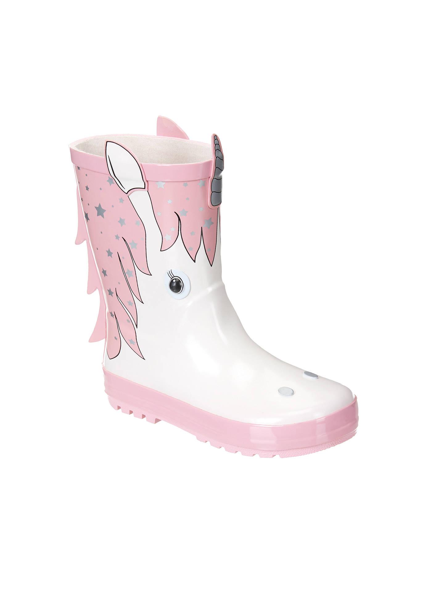 John Lewis & Partners Children's 3D Unicorn Wellington Boots, Pink/White