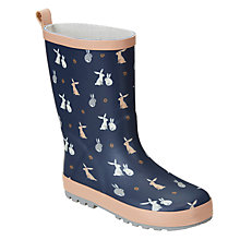 Buy John Lewis Children's Bunny Rabbit Wellington Boots, Navy Online at johnlewis.com