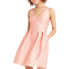Buy Oasis Satin Twill Fit And Flare Dress, Coral Online at johnlewis.com