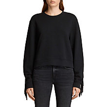 Buy AllSaints Fringi Sweatshirt, Jet Black Online at johnlewis.com