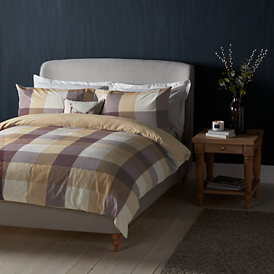 John Lewis Check Brushed Cotton Duvet Cover and Pillowcase Set, Natural/Mulberry