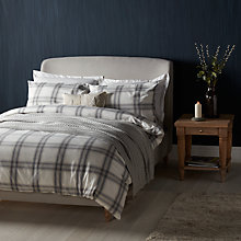 Buy John Lewis Ombre Check Brushed Cotton Duvet Cover and Pillowcase Set, Grey Online at johnlewis.com