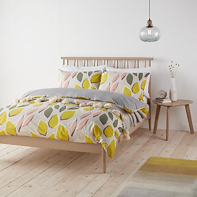 John Lewis Scandi Axel Print Cotton Duvet Cover and Pillowcase Set, Khaki