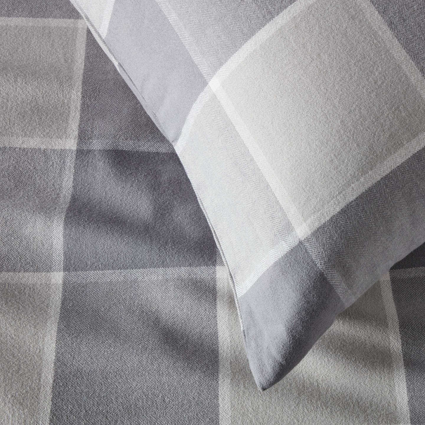 BuyJohn Lewis Window Check Brushed Cotton Duvet Cover and Pillowcase Set, Single Online at johnlewis.com