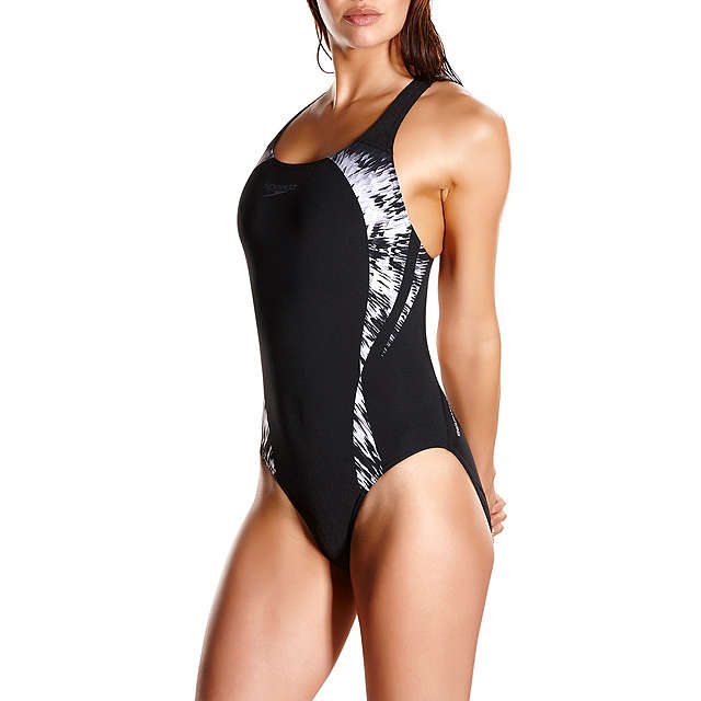 BuySpeedo Cosmic Point Placement Powerback Swimsuit, Black/White, 32 Online at johnlewis.com