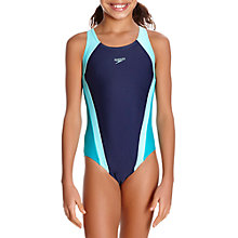 Buy Speedo Girls' Contrast Panel Splashback Swimsuit, Blue/Green Online at johnlewis.com