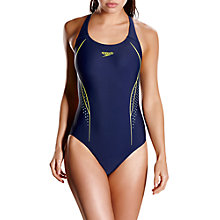 Buy Speedo Start Shift Placement Powerback Swimsuit, Navy/Green Online at johnlewis.com
