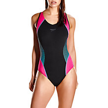 Buy Speedo Fit Splice Muscleback Swimsuit, Black/Pink Online at johnlewis.com
