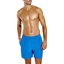 "Buy Speedo Check Trim Leisure 16"" Swimming Watershorts, Blue/Orange Online at johnlewis.com"
