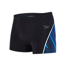 Buy Speedo Fit Graphic Aquashorts, Black/Blue Online at johnlewis.com