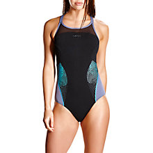 Buy Speedo Fit Splice Xback Swimsuit, Black/Grey Online at johnlewis.com