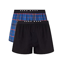Buy BOSS Check Woven Cotton Boxers, Pack of 2, Navy/Black Online at johnlewis.com