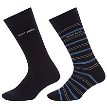Buy BOSS Stripe Plain Socks, Pack of 2, Navy Online at johnlewis.com
