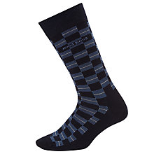 Buy BOSS Check Line Socks, Navy Online at johnlewis.com
