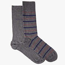Buy BOSS Plain Stripe Socks, Pack of 2, Grey Online at johnlewis.com