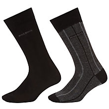 Buy BOSS Fine Stripe Plain Socks, Pack of 2, Black Online at johnlewis.com