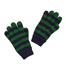 Buy John Lewis Children's Stripe Knitted Gloves, Navy/Green Online at johnlewis.com