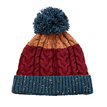 Buy John Lewis Flecked Cable Knit Bobble Hat, Burgundy Online at johnlewis.com