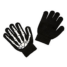 Buy John Lewis Children's Skeleton Gloves, One size, Black Online at johnlewis.com