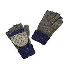 Buy John Lewis Children's Flecked Cable Knit Reverse Loop Flip Mittens, Blue/Grey Online at johnlewis.com