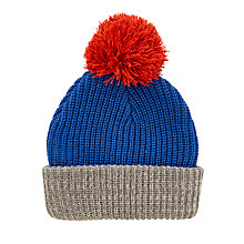 Buy John Lewis Children's Contrast Knitted Bobble Hat, Blue/Grey/Red Online at johnlewis.com