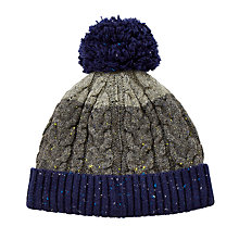 Buy John Lewis Flecked Cable Knit Bobble Hat, Grey/Blue Online at johnlewis.com