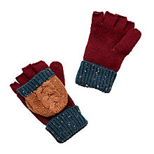 Buy John Lewis Children's Neppy Block Stripe Flip Gloves, Burgundy/Blue Online at johnlewis.com