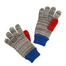 Buy John Lewis Children's Contrast Gloves, Grey/Blue/Red Online at johnlewis.com