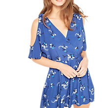 Buy Miss Selfridge Floral Cold Shoulder Playsuit, Navy Online at johnlewis.com
